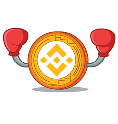 Boxing binance coin character catoon vector