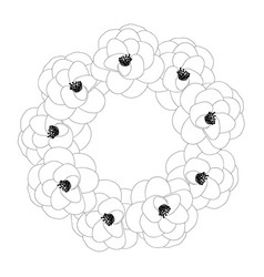 Camellia flower outline wreath vector