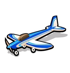 Childrens blue toy airplane on a white background vector