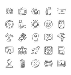 Collection of technology doodle icons vector