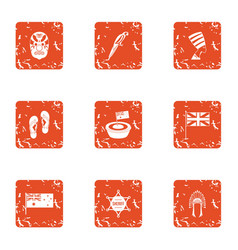 Conquest of america icons set grunge style vector
