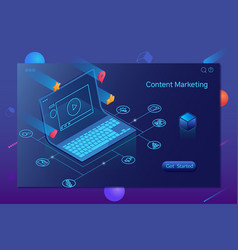Content marketing blogging and smm concept vector