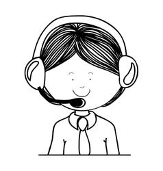 Contour guy customer service icon vector