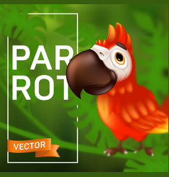 cute ara parrot with big beak sitting on the vector image