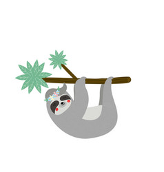 Cute funny sloth hanging on palm tree branch vector