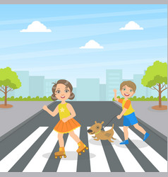 cute kids and dog using cross walk to cross street vector image