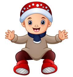 cute little boy in winter c vector image