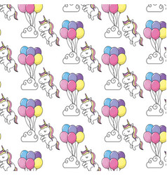 Cute unicorn and balloons with cloud background vector