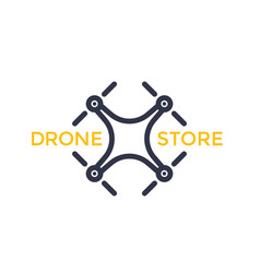 Drone store logo with quadrocopter vector