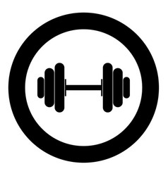 dumbbell the black color icon in circle or round vector image