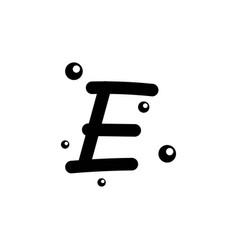 E hand drawn alphabet design template vector