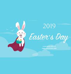 easter bunny superhero holding easter egg vector image