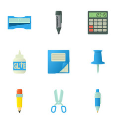 Education equipment icons set cartoon style vector
