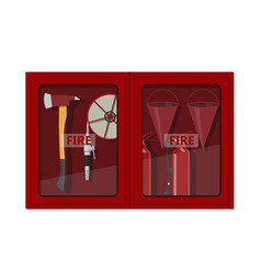 Fire hose cabinet on white background vector