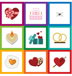 Flat icon love set of patisserie gift scrambled vector