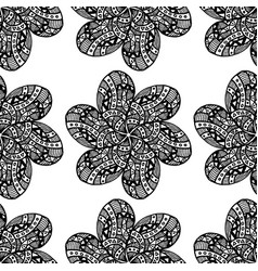 floral ornament black flower with petals as vector image