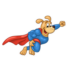 Flying muscular dog in super hero suit vector