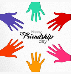friendship day paper cut friend hands card vector image