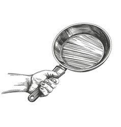 Frying pan hold in hand cooking kitchen hand vector