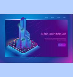 Futuristic neon architecture isometric web banner vector