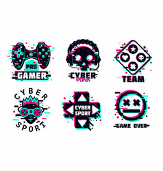 game team emblem set glitch style signs vector image