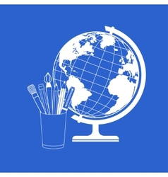Globe and school supplies vector
