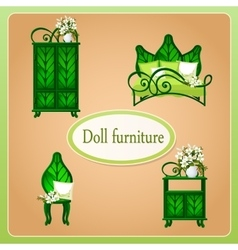 Green eco dollhouse furniture vector