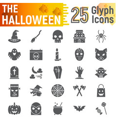 Halloween glyph icon set spooky symbols vector