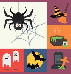 halloween icons set traditional trick vector image