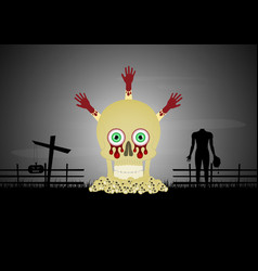 Halloween skull pile blood hand cross zombie vector