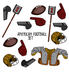 Hand drawn american football collection vector