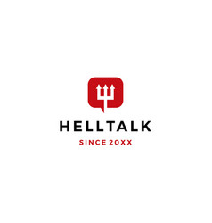 hell talk pitchfork devil logo icon vector image