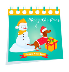 Holiday dachshund and winter scene background vector