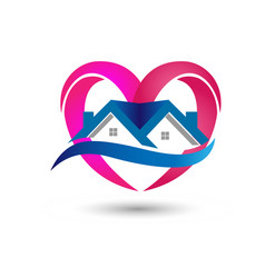 House heart real estate icon vector