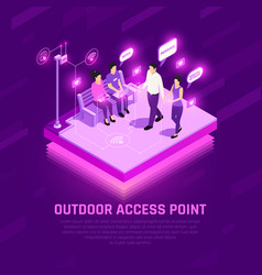 Internet access point isometric composition vector