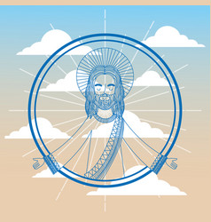 jesus catholicism religion card vector image
