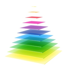 Layered rainbow pyramid vector image