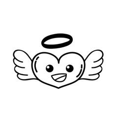 Line happy heart angel kawaii cartoon vector