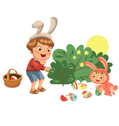 Little boy smile hunting decorative chocolate egg vector