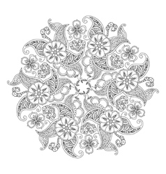 Mandala with flowers and leaves isolated on white vector