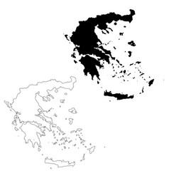 map greece isolated black on vector image