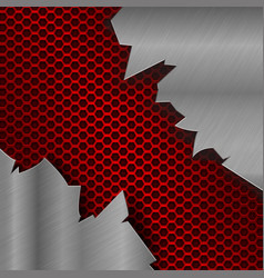 Metal red perforated background with torn metal vector