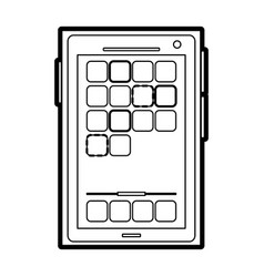 Modern cellphone with app boxes on screen icon vector