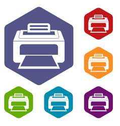 Modern laser printer icons set vector