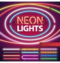 Neon Lights Decoration Set vector image