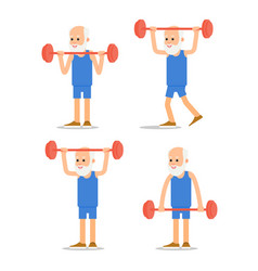 older man perform exercises to barbell lifting vector image