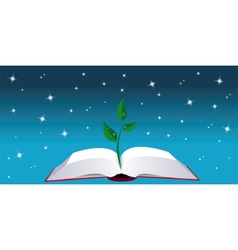 Open book with tree sprout vector