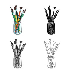 Paintbrushes for painting in the jar icon in vector