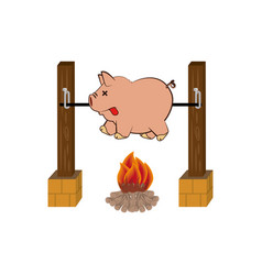 picnic cooking campfire icon vector image