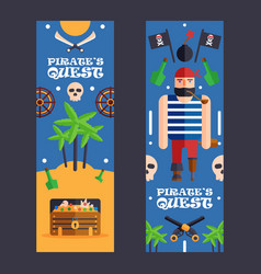 pirate quest game banner fun vector image